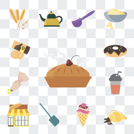 Set Of 13 simple editable icons such as Biscuit, Croissant, Ice cream, Spatula, Bakery, Frappe, Pastry bag, Donut, Pie on transparent background