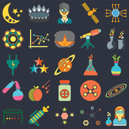 Set Of 25 icons such as Scientist, Structure, Stars, Blaster, Newtons cradle, Chemical, Flask, Medicine, Test tube, Atom, Burner on black background, web UI editable icon pack