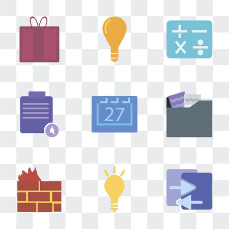 Set Of 9 simple transparency icons such as File sharing, Marketing, Firewall, Folder, Calendar, Execution, Calculator, Idea, Offer, can be used for mobile, pixel perfect vector icon pack on