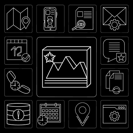 Set Of 13 simple editable icons such as Image, Browser, Placeholder, Calendar, Database, File, Phone call, Speech bubble, Calendar on black background