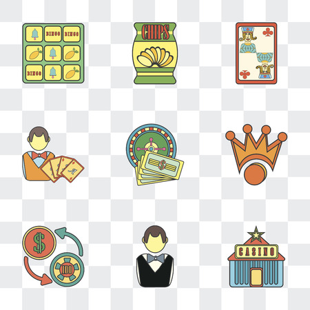 Set Of 9 simple transparency icons such as Casino, Gambler, Exchange, Crown, Roulette, Jack of clubs, Chips, Slot machine, can be used for mobile, pixel perfect vector icon pack on