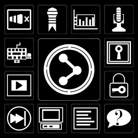 Set Of 13 simple editable icons such as Share, Question button, Left side alignment, Laptop frontal monitor, Pause tiny key, Frame, Keyhole shape, Keyboard on black background