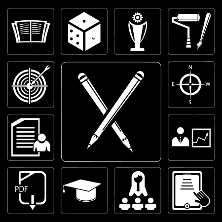 Set Of 13 simple editable icons such as Pencil, Tablet, Classes, Diploma, Pdf, Presentation, Exam, Compass, Target on black background