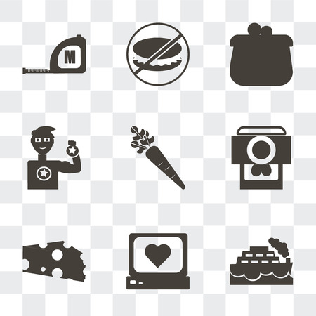 Set Of 9 simple transparency icons such as Ship, Heart rate monitor, Cheese wedge, Camera and heart picture, Carrot, Weight lifting medal, Coin purse, Forbidden burguer, Measuring tape, can be used