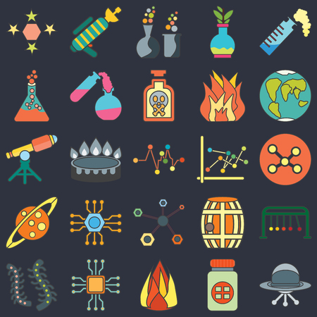 Set Of 25 icons such as Ufo, Medicine, Heat, Microchip, Microorganisms, Planet earth, Line chart, Structure, Saturn, Flask, Chemical, Blaster on black background, web UI editable icon pack