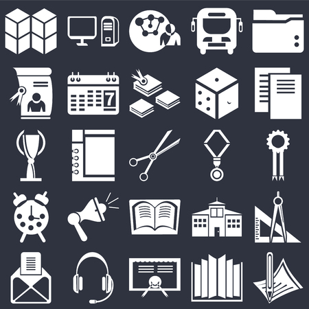 Set Of 25 icons such as Pencil, Open book, Diploma, Headset, , Document, Medal, Book, Alarm clock, Connection, Computer on black background, web UI editable icon pack