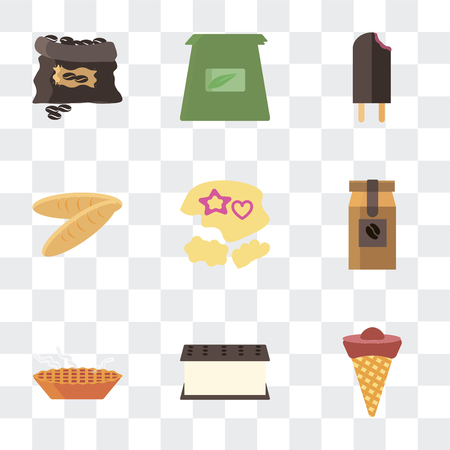 Set Of 9 simple transparency icons such as Ice cream, Pie, Coffee bag, Mould, Bread, Tea grain, can be used for mobile, pixel perfect vector icon pack on transparent Иллюстрация