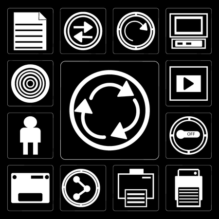 Set Of 13 simple editable icons such as Curved Arrow, Printer, Electronic print machine, Share, Web page variant, Button on off, User Avatar, Frame, Gramophone record black background