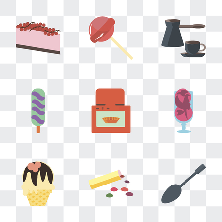 Set Of 9 simple transparency icons such as Spoons, Bonbon, Ice cream, Oven, Coffee, Lollipops, Cake, can be used for mobile, pixel perfect vector icon pack on transparent