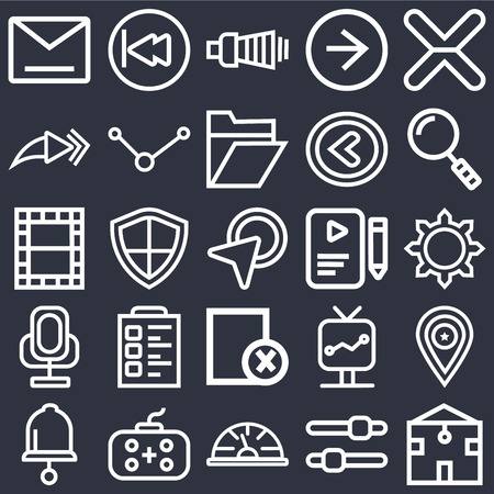 Set Of 25 icons such as Home, Settings, Speedometer, Gamepad, Bell, Search, File, Cancel, Voice recorder, Forward, Volume, Rewind on black background, web UI editable icon pack Ilustração