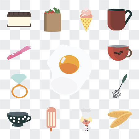 Set Of 13 simple editable icons such as Fried egg, Bread, Baker, Ice cream, Tea cup, Whisk, Ring pop, Coffee Gum on transparent background