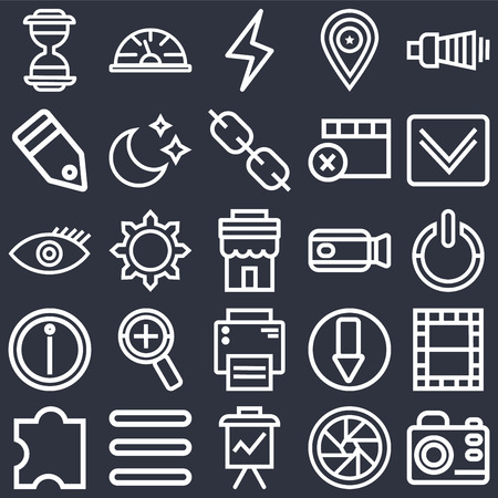 Set Of 25 icons such as Photo camera, Shutter, Presentation, Menu, Puzzle, Down arrow, Video Printer, Info, Tag, Lightning, Speedometer on black background, web UI editable icon pack