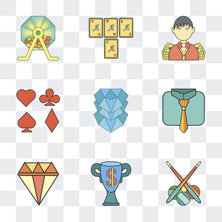 Set Of 9 simple transparency icons such as Billiards, Trophy, Precious stone, Tie, Diamond, Gambler, Croupier, Lottery, can be used for mobile, pixel perfect vector icon pack on transparent