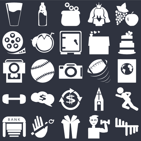 Set Of 25 simple editable icons such as Apple and grapes, Exercise with dumbbells, Wedding cake, No smoking, Bank, Man sprinting, Tennis ball, web UI icon pack, pixel perfect Illustration