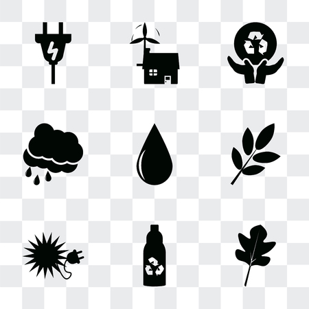 Set Of 9 simple transparency icons such as Leaves, Recycled bottle, Ecological energy source, Trash can, Drop, Rain Cloud, Global recycling, house, Plug, can be used for mobile, pixel
