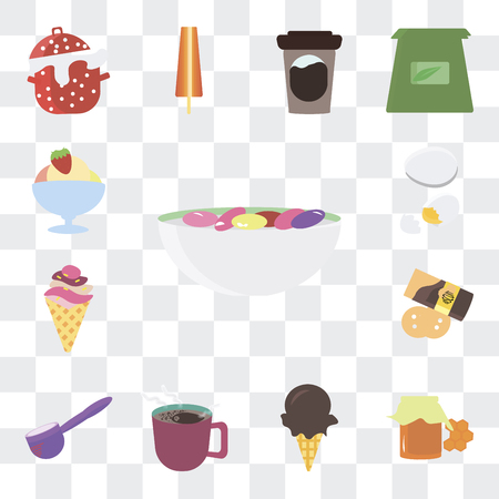 Set Of 13 simple editable icons such as Beans, Honey, Ice cream, Coffee, Spoon, Pie, Egg on transparent background