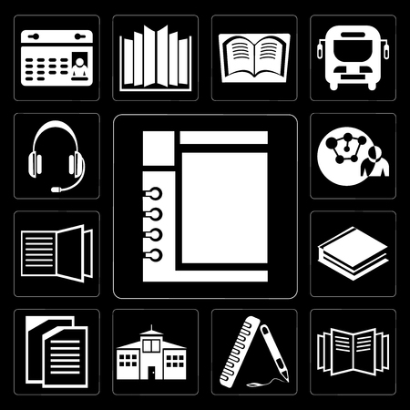 Set Of 13 simple editable icons such as Notepad, Open book, Ruler, School, Copy, Books, Connection, Headset on black background