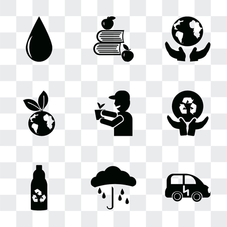 Set Of 9 simple transparency icons such as Eco energy car, Raindrop on a hand, Recycled bottle, Global recycling, volunteer, energy, Save The Earth, Apple and books, Drop, can be used for