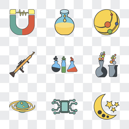 Set Of 9 simple transparency icons such as Moon, Microchip, Galaxy, Chemical, Chemistry, Gun, Solar system, Flask, Magnet, can be used for mobile, pixel perfect vector icon pack on transparent Çizim