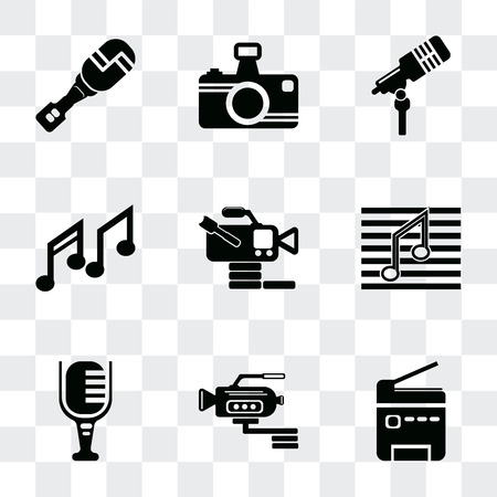 Set Of 9 simple transparency icons such as Printer, Video camera side view, Mic, Musical note, from Music Microphone voice, Photo camera, Mic interface, can be used for Vectores