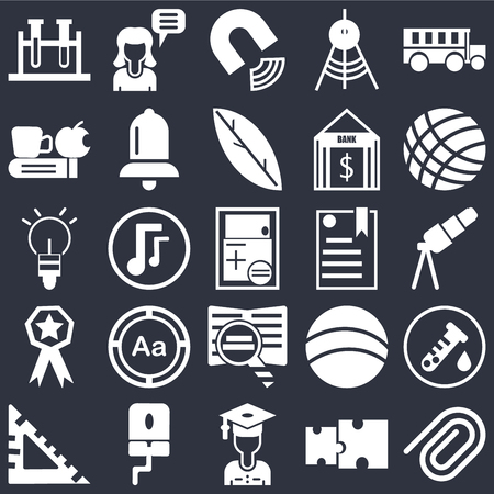 Set Of 25 simple editable icons such as Paper clip, Telescope, Volley ball, Girl speaking, square, Alarm bell, Basketball, Light Ball on black background, web UI icon pack