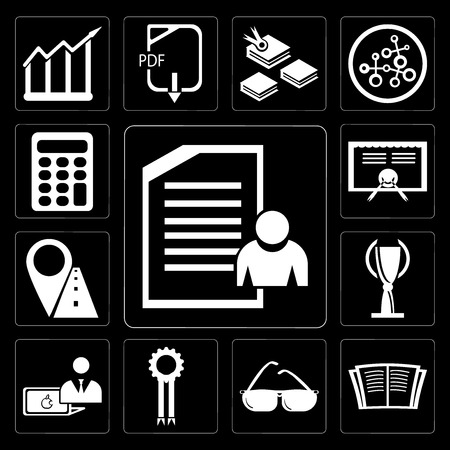 Set Of 13 simple editable icons such as Exam, Open book, Sunglasses, Medal, Computer, Trophy, Marker, Diploma, Calculator on black background