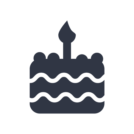 Birthday cake with one candle icon vector isolated on white background for your web and mobile app design, Birthday cake with one candle logo concept