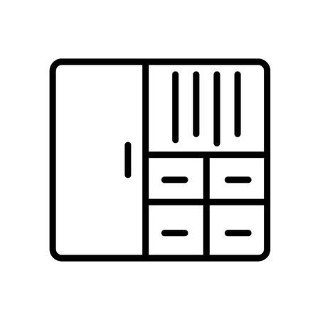 Armadio icona vettoriale isolato su sfondo bianco, segno trasparente armadio