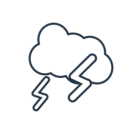 Cloud with thunderbolt icon vector isolated on white background, Cloud with thunderbolt transparent sign Vectores