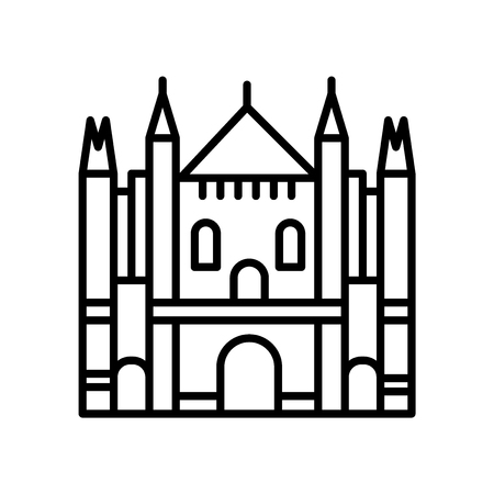 Milan Cathedral icon vector isolated on white background, Milan Cathedral transparent sign , line or linear sign, element design in outline style