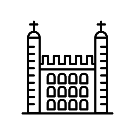 Tower of London icon vector isolated on white background, Tower of London transparent sign , line or linear sign, element design in outline style 向量圖像