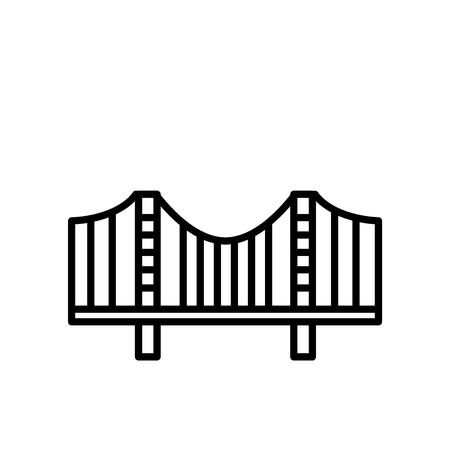 Zakim Bridge icon vector isolated on white background, Zakim Bridge transparent sign , line or linear sign, element design in outline style Иллюстрация