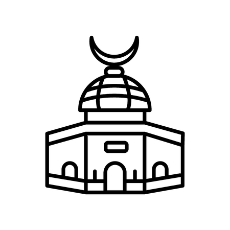Dome of the Rock icon vector isolated on white background, Dome of the Rock transparent sign , line or linear sign, element design in outline style Illustration
