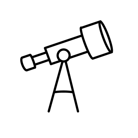 Telescope icon vector isolated on white background, Telescope transparent sign , line or linear sign, element design in outline style