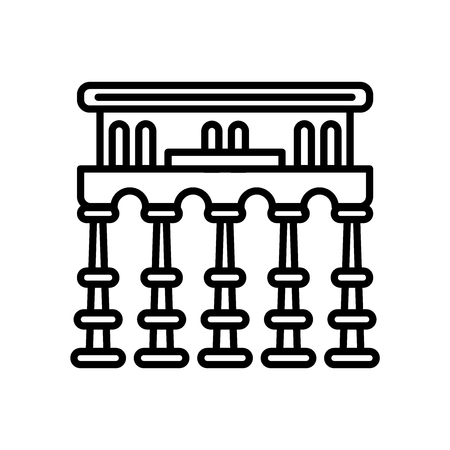Segovia aqueduct icon vector isolated on white background, Segovia aqueduct transparent sign , line or linear sign, element design in outline style