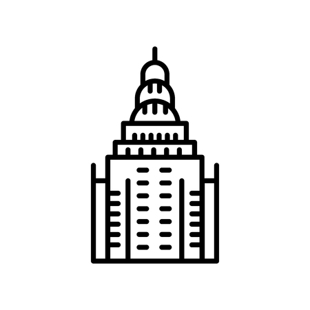 Chrysler Building icon vector isolated on white background, Chrysler Building transparent sign , line or linear sign, element design in outline style