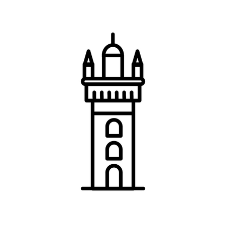 Giralda Tower icon vector isolated on white background, Giralda Tower transparent sign , line or linear sign, element design in outline style Illustration