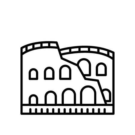 Colosseum icon vector isolated on white background, Colosseum transparent sign , line or linear sign, element design in outline style