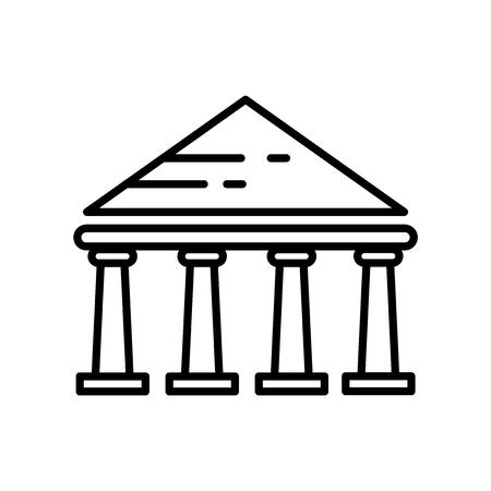 Parthenon-Symbolvektor isoliert auf weißem Hintergrund, Parthenon-transparentes Zeichen, Linie oder lineares Zeichen, Elementdesign im Umrissstil