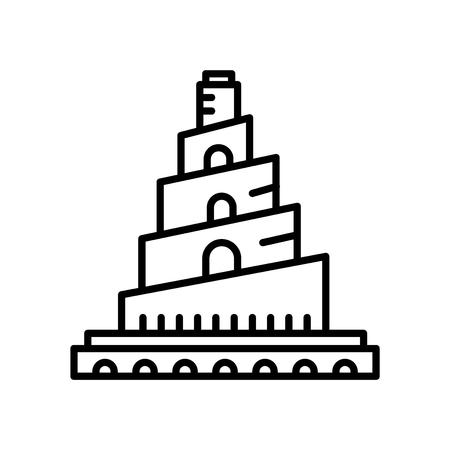 Grande mosquée de Samarra icône vecteur isolé sur fond blanc, signe transparent de grande mosquée de Samarra, ligne ou signe linéaire, conception d'élément dans le style de contour