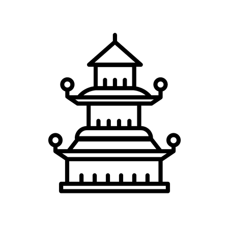 Pagoda icon vector isolated on white background, Pagoda transparent sign