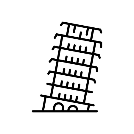Tower of Pisa icon vector isolated on white background, Tower of Pisa transparent sign , line or linear sign, element design in outline style
