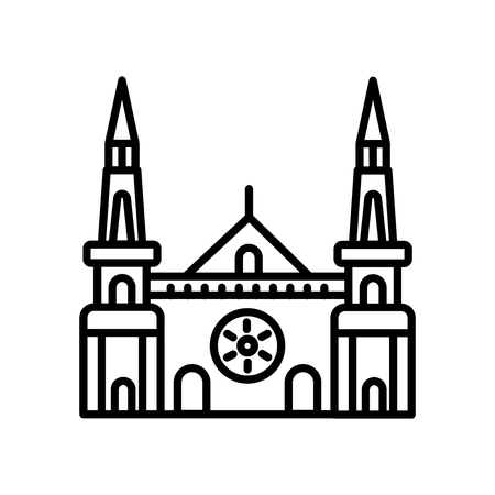 Chartres Cathedral icon vector isolated on white background