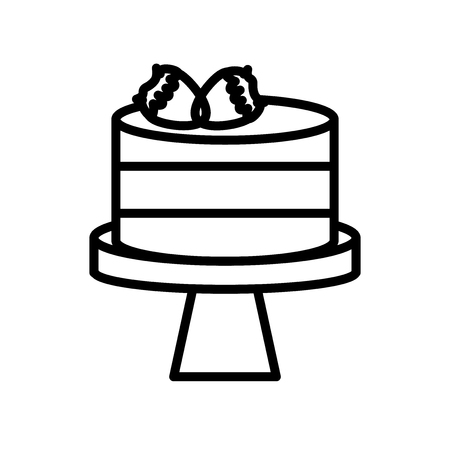 Cake icon vector isolated on white background, Cake transparent sign , line or linear sign, element design in outline style