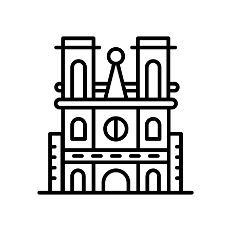 Notre Dame Cathedral icon vector isolated on white background, Notre Dame Cathedral transparent sign , line or linear sign, element design in outline style Vectores