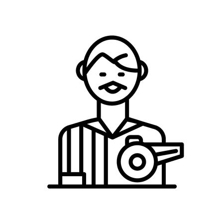 Vector icono de árbitro aislado sobre fondo blanco, signo transparente de árbitro, signo de línea o lineal, diseño de elementos en el estilo de contorno Ilustración de vector