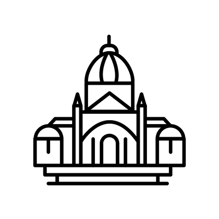 Basilica of the sacred heart icon vector isolated on white background, Basilica of the sacred heart transparent sign , line or linear sign, element design in outline style