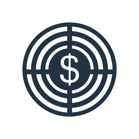 Target icona vettoriale isolato su sfondo bianco, segno trasparente Target Vettoriali