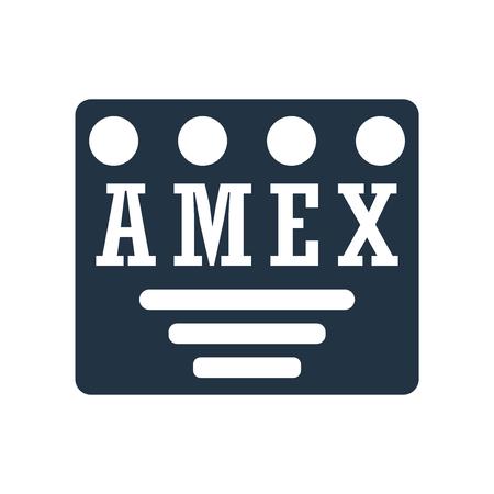 Amex icona vettoriale isolato su sfondo bianco, segno trasparente Amex Vettoriali
