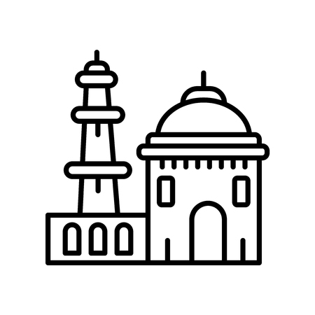 Qutb Minar in New Delhi icon vector isolated on white background, Qutb Minar in New Delhi transparent sign , line or linear sign, element design in outline style